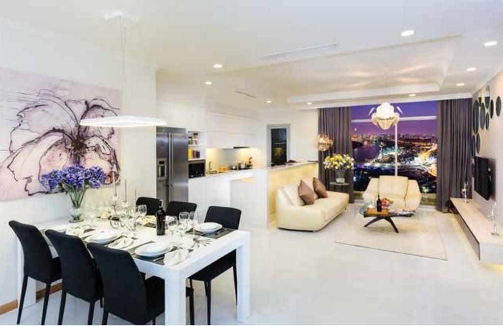 Bàn ăn và phòng khách căn hộ mẫu Vinhomes Central Park